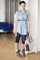 sky blue modcloth dress - navy modcloth tights - brown modcloth boots - beige mo