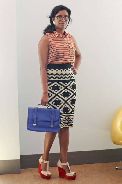 blue modcloth bag - black modcloth skirt - coral modcloth top