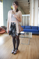 black modcloth tights - pink modcloth bag - black modcloth skirt - white modclot