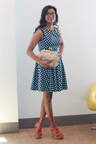 modcloth dress - modcloth bag - modcloth wedges - modcloth earrings