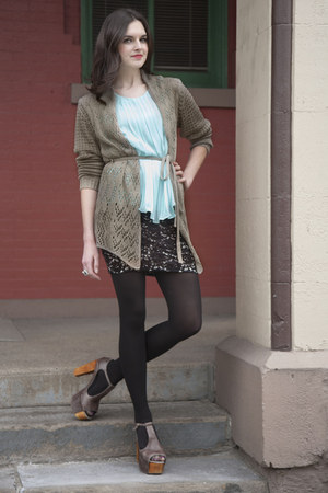 aquamarine modcloth top - dark khaki modcloth cardigan - black modcloth skirt - 