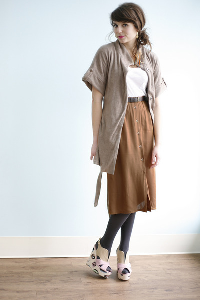 bronze A Days Work Skirt skirt - tan Speak Soft Coat jacket