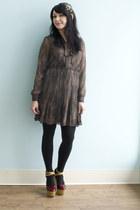 light brown pleated Real Estate Extraordinaire Dress dress