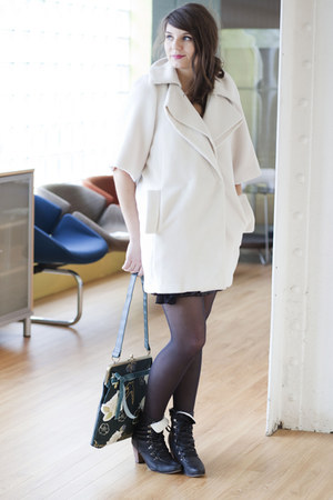 ivory modcloth coat - black modcloth boots - black tights - dark green modcloth