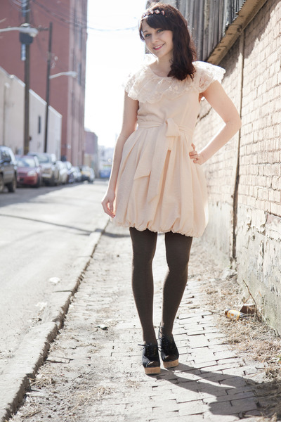 black modcloth shoes - eggshell modcloth dress - dark brown modcloth socks - lig