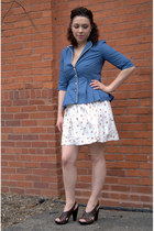 white modcloth dress - blue modcloth blazer - dark brown modcloth sandals