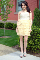 eggshell modcloth dress - silver modcloth wedges - gold modcloth necklace