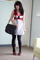 white modcloth dress - black modcloth - black modcloth bag - brick red modcloth