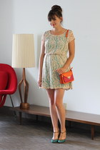 beige modcloth dress - carrot orange modcloth bag - aquamarine modcloth heels