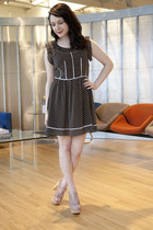 black modcloth dress - light pink modcloth heels