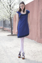 blue modcloth dress - ivory lace modcloth tights - heather gray modcloth heels