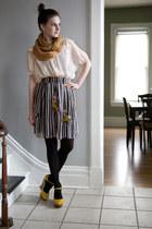 yellow modcloth wedges - camel modcloth scarf - black modcloth skirt