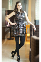 black modcloth dress - black modcloth tights - gold modcloth necklace - silver m