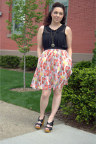 black modcloth top - salmon modcloth skirt - gold modcloth necklace - black modc