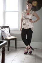 purple modcloth shoes - ruby red modcloth necklace - ivory modcloth top - black