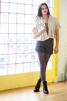 ivory modcloth jacket - gray modcloth top - navy modcloth shorts - black modclot