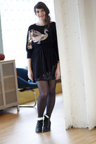 black modcloth sunglasses - black modcloth dress - black tights - black modcloth