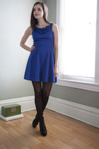 blue modcloth dress - black modcloth tights - black modcloth heels