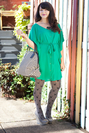 chartreuse modcloth dress - heather gray modcloth tights - ivory modcloth bag