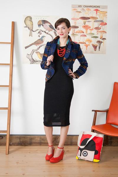 black modcloth dress - navy modcloth jacket - neutral modcloth bag