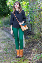 tawny modcloth boots - dark green modcloth jeans - beige modcloth bag
