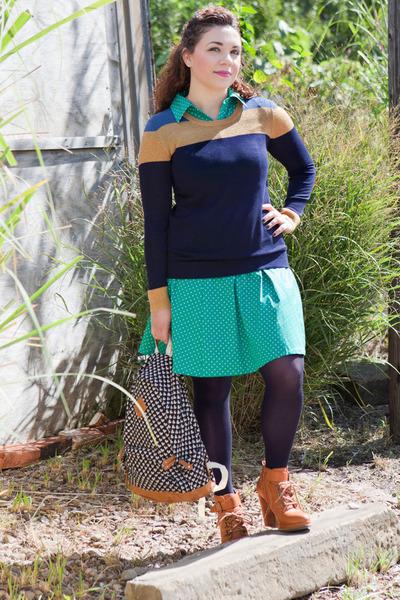 bronze modcloth boots - turquoise blue modcloth dress - navy modcloth sweater