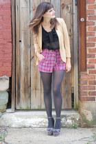 gray modcloth shoes - eggshell modcloth blazer - black modcloth shirt