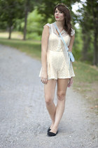 ivory modclothro romper - light blue modcloth bag - white modcloth blouse