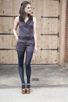 navy modcloth tights - navy modcloth romper - brown modcloth heels