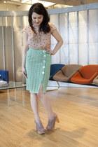 aquamarine modcloth skirt - light pink modcloth heels - tan modcloth top - gold