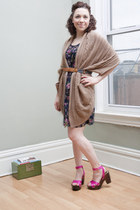 navy modcloth dress - camel modcloth sweater - blue modcloth belt - hot pink mod