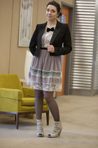puce modcloth dress - black modcloth blazer - black modcloth tights - heather gr