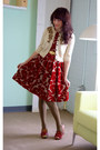 Crimson-modcloth-dress-eggshell-modcloth-cardigan-red-modcloth-heels-olive