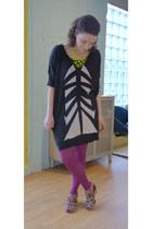 gray modcloth shoes - black modcloth dress - purple modcloth tights - chartreuse