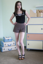 black modcloth shorts - black modcloth top - black modcloth heels