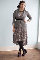 black modcloth shoes - light purple modcloth dress - gray modcloth blazer