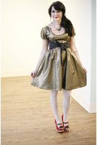 camel metallic Shining Opportunity Dress dress