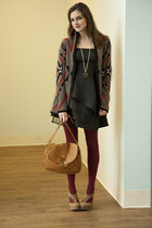 brown geometric Havent We Geometric Cardigan sweater