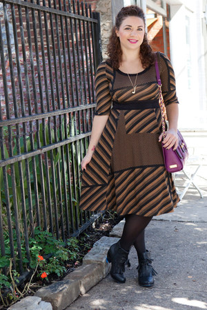 black modcloth boots - light brown modcloth dress - black modcloth tights