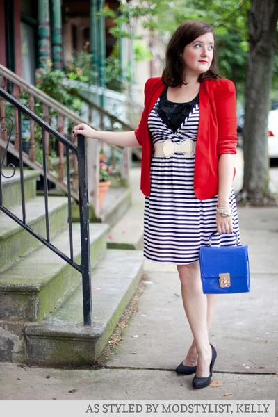 red modcloth jacket - white modcloth dress - blue modcloth bag