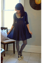 navy modcloth dress - charcoal gray modcloth tights - ivory modcloth heels