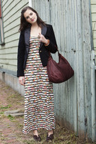 off white modcloth dress - black modcloth blazer - brown modcloth shoes - dark b