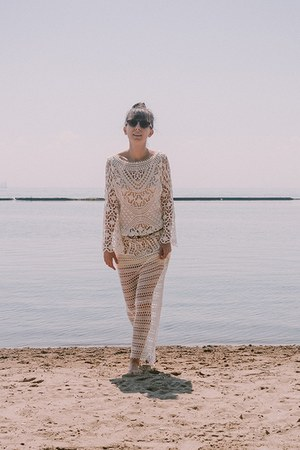 white crochet Purity Lace Designs dress