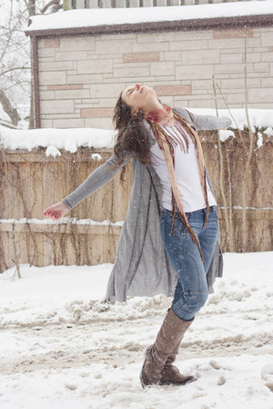 heather gray long cardigan Hem&Thread cardigan - blue biker ae jeans