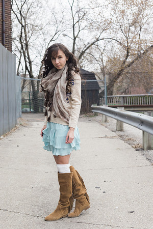 brown fringed Aldo boots - eggshell tribal unknown sweater