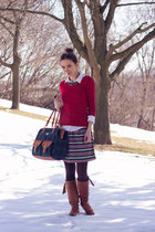 ruby red Smart Set sweater - dark green striped unknown skirt