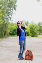 burnt orange STELA 9 bag - blue flared raw hem dittos jeans