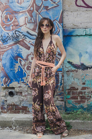ivory vintage unknown shirt - dark brown paisley Spell Designs romper