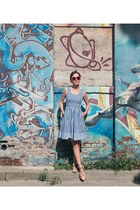 blue classic gingham modcloth dress - ruby red heartshaped unknown glasses