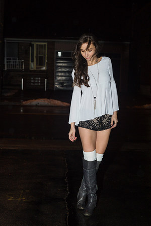 charcoal gray over the knee Browns boots - black lace Spell Designs shorts
